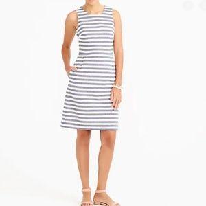 NWT J. Crew Striped Pleated Shift Dress Size O